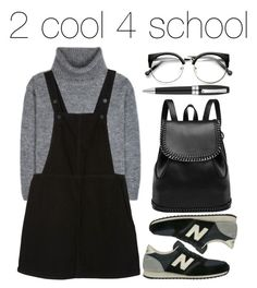 """#school "" by adiassulin ❤ liked on Polyvore featuring Yves Saint Laurent, Monki, New Balance and Montegrappa"