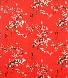 Alexander Henry Japanese flower fabric with gold