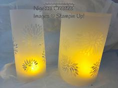 Nigezza Creates: Watch my latest tutorial by clicking here! A fe. Paper Art, Paper Crafts, Create Image, 3d Projects, Pillar Candles, Lamp Light, Tea Lights, Stampin Up, Candle Holders