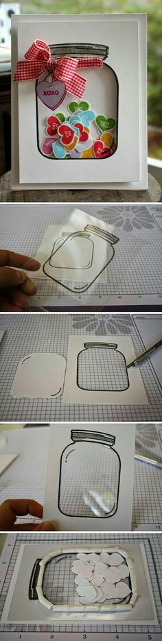 "Shaker card with jar and heart ""candies"""