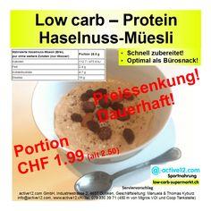 Preissenkung! Dauerhaft! - @-Müesli (Brei) auf CHF 1.99 (alt: 2.50) #low carb & extrem reich an Protein. http://www.active12.ch/Spezialnahrungsmittel/Mueesli--low-carb-/Muesli-Brei-Nuss.html #hoherProteingehalt #muskelaufbau #bodybuilding #abnehmen #fitness #active12