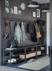 Mudroom with charcoal grey cupboards that includes brass pulls furnished with a Hallway Storage, Storage Spaces, Shoe Storage, Grey Cupboards, House Entrance, Entryway Decor, Entrance Decor, Room Decor, House Design