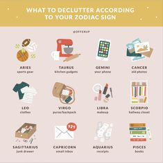 The contents of your spring cleaning to-do list lie in the stars! Find out which areas you should declutter, based on your Zodiac sign. Zodiac Signs Animals, Zodiac Signs Chart, Sagittarius And Capricorn, Zodiac Signs Astrology, Gemini And Cancer, Zodiac Memes, Zodiac Star Signs, Astrology Zodiac, Zodiac Facts
