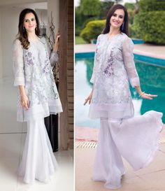 Farida Hasan, pants and satin ribbon attachment on kurta Stylish Dresses For Girls, Modest Dresses, Bridal Dresses, Casual Dresses, Fashion Dresses, Pakistani Formal Dresses, Pakistani Wedding Outfits, Indian Outfits, Indian Dresses
