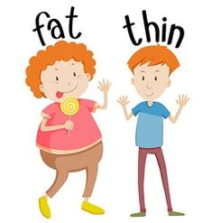 Opposite adjectives fat and thin vector English Activities For Kids, Learning English For Kids, English Worksheets For Kids, English Lessons For Kids, Kids English, Preschool Learning Activities, English Language Learning, Preschool Worksheets, Teaching English