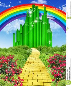 Illustration about Illustration of rainbow over the yellow brick road, the way to the Emerald city with flowers and plants to left and right. Illustration of sparkle, stars, yellow - 35011613 Wizard Of Oz Musical, Wizard Of Oz Decor, Wizard Of Oz Characters, Wizard Of Oz Pictures, City Flowers, Yellow Brick Road, Trunk Or Treat, Emerald City, The Wiz