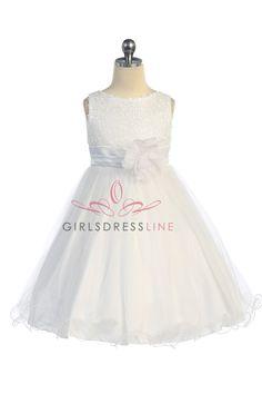 Gorgeous White Sequined Round Neck Tulle Overlaid Girl Dress K305-AQ K305-WH $44.95 on www.GirlsDressLine.Com