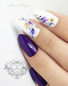 """1,369 kedvelés, 12 hozzászólás – ШКОЛА МАНИКЮРА💅ДИЗАЙНА🌸 (@nail_marina_disign) Instagram-hozzászólása: """"ни как не остановиться😍 online курс """"WaterColor"""" включает ❤подробный, пошаговый видео урок по…"""" Nail Art Designs Videos, Creative Nail Designs, Diy Nail Designs, Nail Swag, Hot Nails, Hair And Nails, Nails Kylie Jenner, Purple Nail Designs, Manicure E Pedicure"""