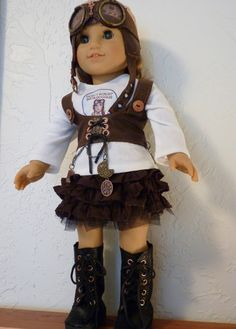 AMERICAN GIRL DOLL goes Steampunk.  One of a kind. Original design on the hand painted tee by RhinestonestoRubies, $50.00