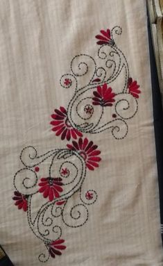 sherene's media content and analytics Simple Hand Embroidery Designs, Floral Embroidery Patterns, Creative Embroidery, Hand Embroidery Stitches, Machine Embroidery, Embroidery On Kurtis, Hand Embroidery Videos, Hand Embroidery Flowers, Hand Work Embroidery