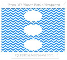 Free White and Dodger Blue Chevron  DIY Water Bottle Wrappers