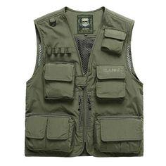 98b6ec8f131 Mens Summer Outdooors Quick Drying Fishing Multi Pockets Vest Waistcoats  Blouson
