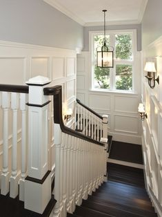 This is the color of my living room walls. Want to paint the handrail and stair treads just like this and do board and batten in a white like this. Looks so amazing. Painted Wood Stairs Design, Pictures, Remodel, Decor and Ideas
