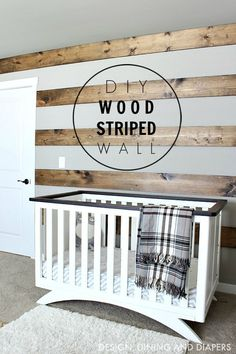 Diy Home : DIY Wood Striped Wall in rustic nursery! This wood accent wall is a great way to. Farmhouse Style Decorating, Farmhouse Decor, Farmhouse Furniture, Bedroom Furniture, Apartment Furniture, Farmhouse Ideas, Kitchen Furniture, Rustic Furniture, Furniture Ideas