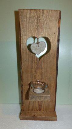 Teelichthalter - Teelichthalter aus Holz mit Herz aus Beton - ein Designerstück von Andy1968 bei DaWanda