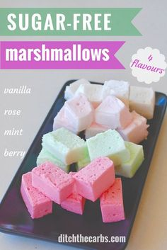 These are so cute! Sugar-free marshmallows 4 flavours to choose from. Perfect to keep sweet cravings away. Keto, low carb and plate. | ditchthecarbs.com via @ditchthecarbs