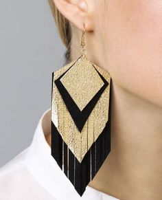 Parton Fringe Earrings in Black and Gold by Claire Fong: DIY?