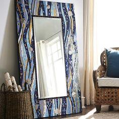 Blue Waves Floor Mirror