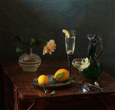 Combinación de color, vidrio y naturaleza viva (fruta).  Fantástico!