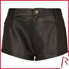 #RihannaforRiverIsland LIMITED EDITION Black Rihanna snake embossed leather shorts. #RIHpintowin click here for more details >  http://www.pinterest.com/pin/115334440431063974/