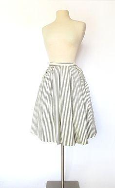 1950s Ticking Stripe full, pleated skirt