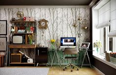 Wall Decor for Home Office . 24 Unique Wall Decor for Home Office . 10 Striped Home Fice Accent Wall Ideas Inspirations Workspace Design, Office Interior Design, Office Interiors, Office Workspace, Office Chairs, Modern Interior, Home Office Space, Home Office Decor, Home Decor