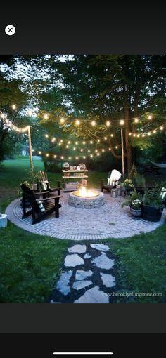 Pergola Lighting, Outdoor Pergola, Outdoor Decor, Outdoor Living, Outdoor Fire, Outdoor Projects, Outdoor Ideas, Backyard String Lights, Patio Decorating Ideas On A Budget