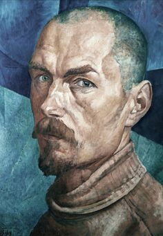 Kuzma Petrov-Vodkin (Russian, 1878-1939), Self-Portrait, 1918. Oil on canvas. 71 x 53 cm. The Russian Museum, St. Petersburg.