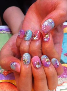 seashells, star, pastels nail polish, nail art