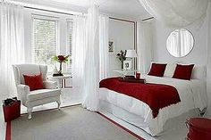 Romantic red and white bedroom