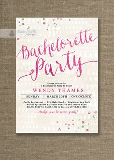 Pink Glitter Bachelorette Party Invitation by digibuddhaPaperie, $20.00