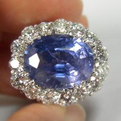 GIA Certified 16.00 ct Untreated Blue Sapphire Diamond 18K White Gold Ring