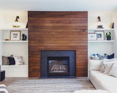 Home Renovation Fireplace Hope everyone has had a great Basement Fireplace, Family Room Fireplace, Home Fireplace, Fireplace Remodel, Fireplace Design, Fireplace With Shelves, Fireplace Trim, Fireplace Fronts, Fireplace Ideas