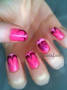 Water marble hearts <3