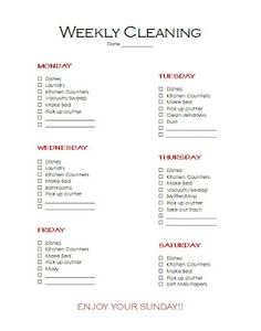 Simple Weekly Cleaning Checklist Daily Calendar Hacks
