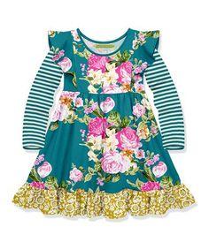 2166f05e4858ff Millie Loves Lily | Teal Floral Ruffle-Hem A-Line Dress - Toddler. Toddler  Girl DressesToddler ...