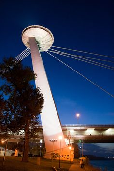 UFO bridge, Bratislava, Slovakia Holiday Places, Holiday Destinations, Best Hotel Deals, Best Hotels, Places Around The World, Around The Worlds, Schengen Area, Bratislava Slovakia, Heart Of Europe
