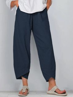 Casual Pants, Casual Wear, Casual Outfits, Fashion Outfits, Fasion, Casual Shirts, Navy Blue Pants, Mode Shop, Cotton Pants