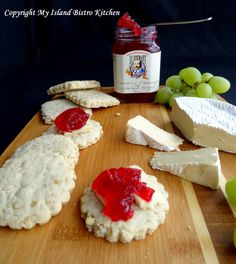 Old-fashion Oatcakes served with Brie and J.J. Stewart's Cranberry Champagne & Crystalized Ginger. Photo by My Island Bistro Kitchen