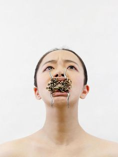 Jizhi Li, Look At My Face 3, 2014, face adornment, sterling silver, brass, bronze
