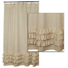 Ruffled Flax Shower Curtain: Piper Classics