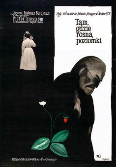 LES FRAISES SAUVAGES d'Ingmar Bergman (1957)  #polonaise #polish #affiche #poster #pologne #poland #swedish #film #bergman #suede
