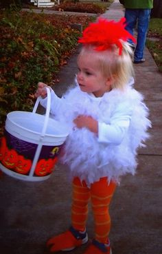 Madelyn's Homemade Chicken Costume - Halloween 2012