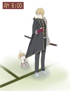 Baby stopping Sougo from going to work Okikagu Doujinshi, Samurai Drawing, Manga Anime, Anime Art, Gintama, Shingeki No Bahamut, Anime Family, Cute Anime Couples, Disney Cartoons