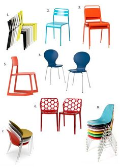 Small Space Entertaining Helpers: Colorful Stacking Chairs