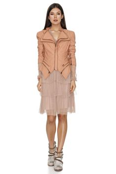 A very chic nude leather jacket that can be worn with a pair of jeans or with a dress. The Sculptural Nude Jacket adds a stylish layer to your everyday look. This jacket is designed to be fitted, so buy to your size. Spring Fashion Outfits, Jackets Online, Everyday Look, Winter Jackets, Leather Jacket, Nude, Spring Style, Chic, Stylish