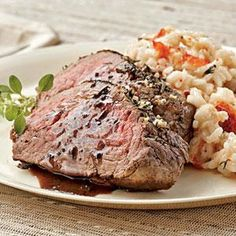 Lobster Risotto with Herb-rubbed Beef Tenderloin Recipe | MyRecipes.com