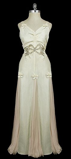 1930s evening gown with rhinestone bow | circa 1935.