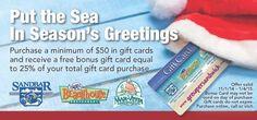 Holiday gift card sale on now for Sandbar restaurant!