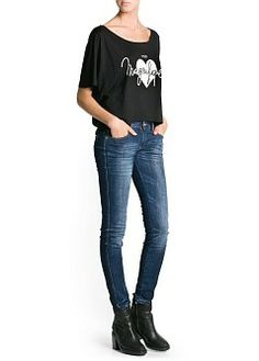 MANGO - NEU - Tops - T-Shirt aus Baumwoll-Modal-Mix